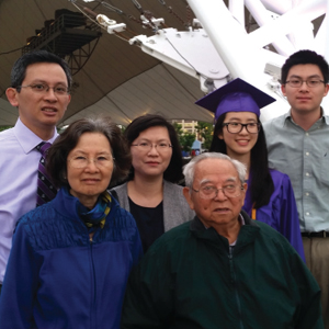 Vincent Ho, MD, with his wife, Mei; their son and daughter, William and Jacquelyn; and his parents at Jacquelyn's high school graduation.
