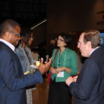 AMFDP annual meeting attendees mingle at the reception. (L-R) Frederick Korley, MD, PhD; Staci Arnold, MD, MBA, MPH; Cindy Roy, PhD; W. Keith Hoots, MD